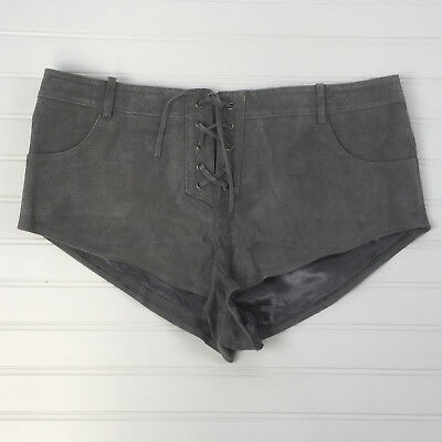 $29.98 • Buy Urban Outfitters Ecote Lace Up Suede Leather Shorts Sz 8 Waist 35  Cheeky Gray