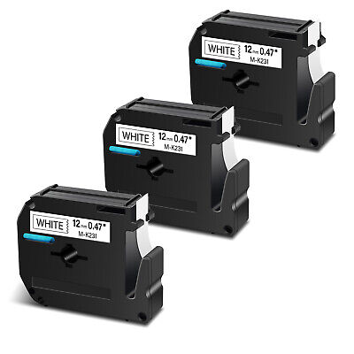 $8.96 • Buy 3PK 12mm For Brother P-touch PT-90 Label MK231 M231 Black On White Tape