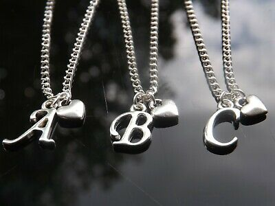 £2 • Buy 16-30 Inch Long Silver Plated Necklace With Mini Heart Pendant & Initial Letter