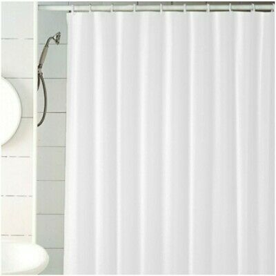 Waterproof White Bathroom Shower Curtain Plain With Hooks Ring Extra Long New UK • 4.01£