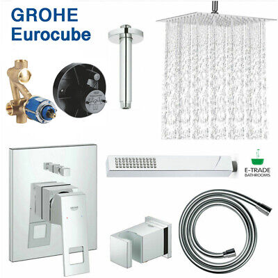 £339.99 • Buy GROHE Shower Set Concealed +EUROCUBE Mixer+Rain Shower Head 30cm Ceiling Mounted