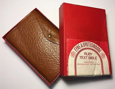 Vintage King James Bible, Eyre & Spottiswoode, Button Flap Montana Calf Leather  • 149.99£