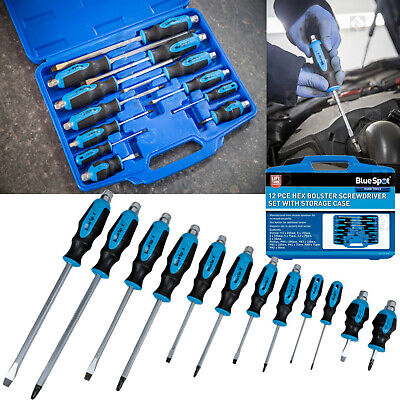 Magnetic SCREWDRIVER Set HEAVY DUTY Phillips & Slotted Go-Through SCREWDRIVERS • 21.99£