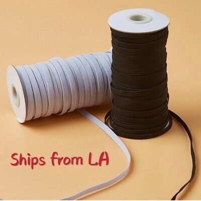 """$ CDN55.03 • Buy Elastic Band Flat Braided Cord 1/5"""" (5mm) White/Black For Face-Ship From LA"""