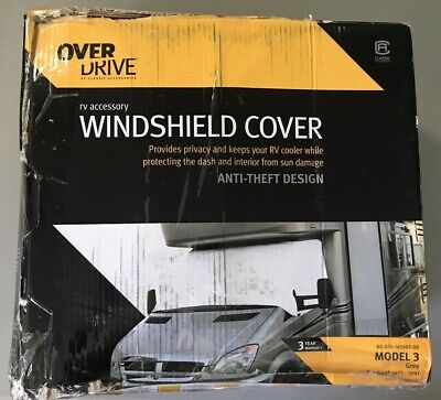 $29.95 • Buy NEW Overdrive Model 3 RV Windshield Cover For 1973-1991 Magnetic Grey Gray