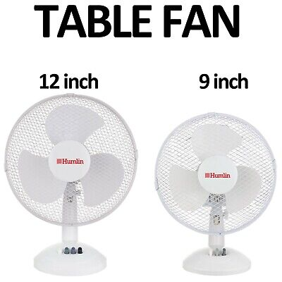 Desk Fan 9 /12  Oscillating Electric 3 Speed Silent Portable Home Office Cooling • 13.99£