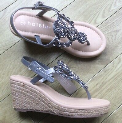 Holster Ladies Sandals HS84SI Silver New 4 Uk • 15£