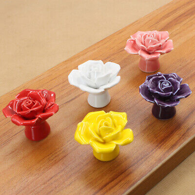Rose Flower Vintage Door Knobs Ceramic Cupboard Cabinet Drawer Pull Handles • 2.49£