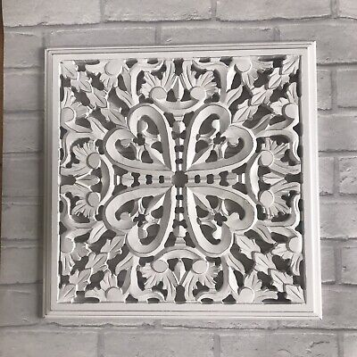 £35.99 • Buy Indian Chic Decorative Carved White Wood Wall Panel