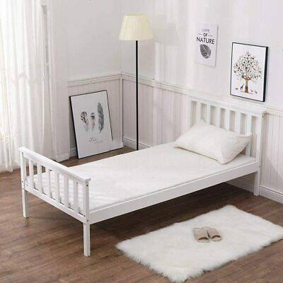 Brand New Single Bed In White 3ft Single Bed Wooden Frame Solid Pine  • 52.99£