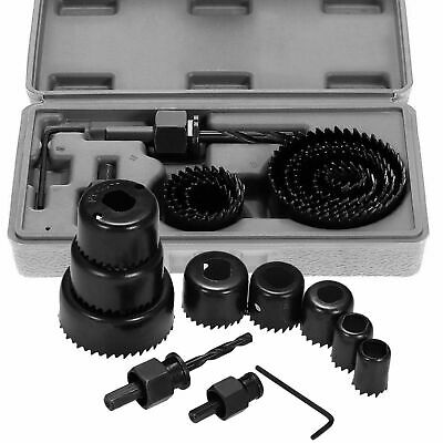 £8.99 • Buy 11Pc HOLE SAW CUTTER SET Round/Circular Drill Cutting Case Kit Metal/Alloy/Wood