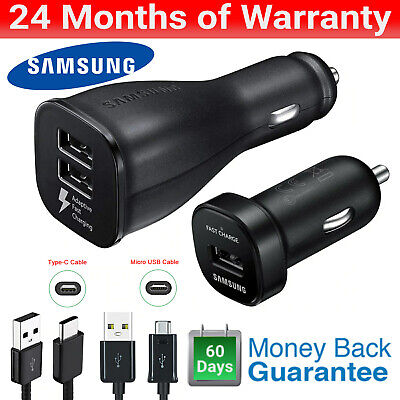 AU17.95 • Buy Samsung Dual USB Adaptive Fast Car Charger Cable Fast Charger For S6 7 8 9 10