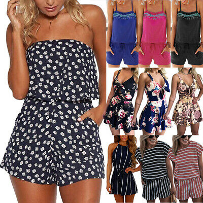 Boho Women Summer Holiday Jumpsuit Romper Lady Casual Beach Mini Playsuit Dress • 10.09£