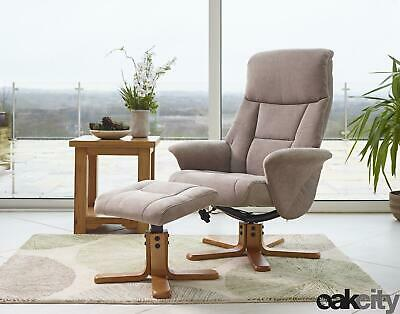 £239 • Buy Marseille - Fabric/Faux Leather Swivel Recliner Chair And Foot Stool - Mink
