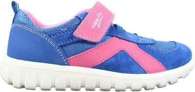 Superfit 09192-81 Blue Suede Leather Girls Rip Tape Trainer Shoes • 32£