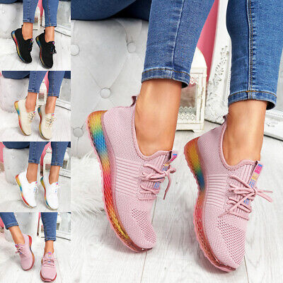 $ CDN17.52 • Buy Womens Ladies Rainbow Chunky Heel Mesh Sport Trainers Sneakers Women Shoes Size