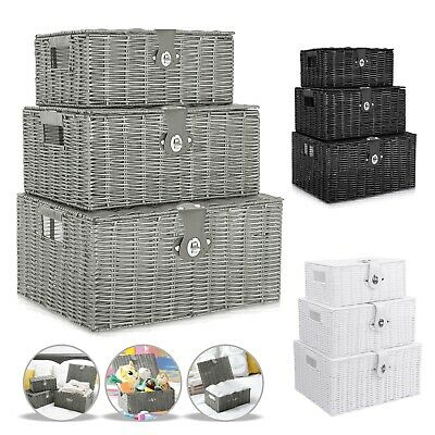 Set Of 3 Wicker Storage Baskets With Lid Lock Resin Woven Basket Gift Hamper Box • 16.59£