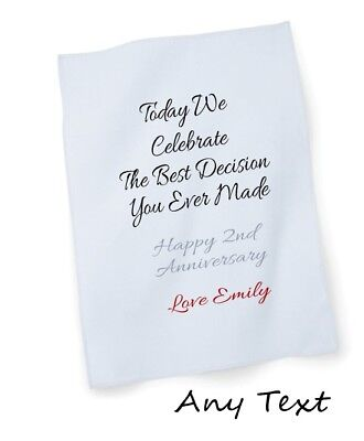 £6.99 • Buy 2nd Wedding Marriage Anniversary Personalised Tea Towel With Any Your Text Gift