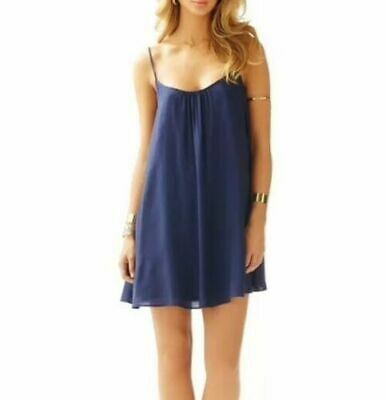 $26.99 • Buy Lilly Pulitzer Daphne Spaghetti Strap Navy Trapeze Dress Women Size S New