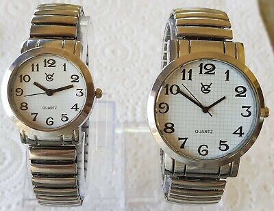 AU18 • Buy New Men's Stretch Band Watch Silver Expandable Easy To Read +free Extra Battery!