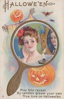 $ CDN33.63 • Buy Halloween May Fate Reveal By Candle's Gleam Posted Divided Back Vintage Postcard