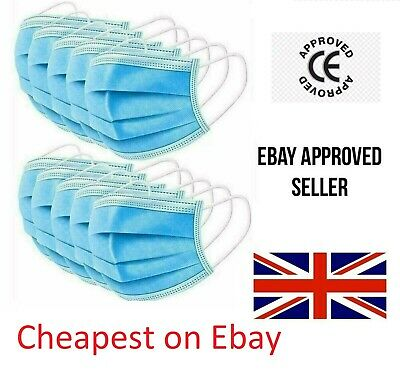 3/10/20 Surgical Face Mask - 3Ply Disposable Face, Mouth & Nose Protection Masks • 6.99£