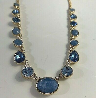DKNY Women's Necklace Blue Rhinestones Gold Tone New • 19.31£