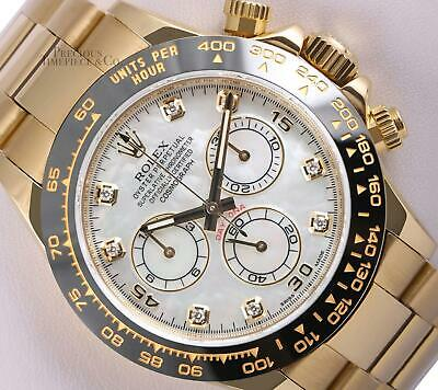 $ CDN46108.27 • Buy Rolex Daytona 116528 18k Yellow Gold-White MOP Diamond Dial-Black Ceramic Bezel