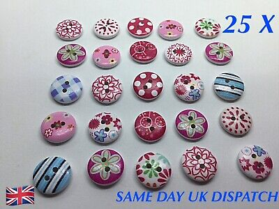25 X 2 Hole Pretty Pinks Blues Colour Buttons Sewing Knitting Children's Mix  • 2.69£