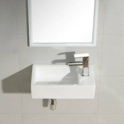 Designed Cloakroom Hand Wash Basin Compact Ceramic Small White RH TAP UK • 28.99£