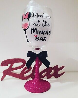 Personalised Disney Glitter Wine Glass Birthday MINNIE MOUSE PINK Gift Wrapped • 9.99£