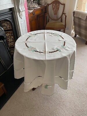 Vintage French 72 Inch Round Circular Tablecloth Ivory Rose 8 Matching Napkins • 22£