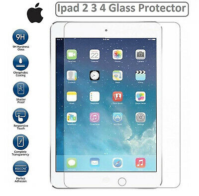 GENUINE TEMPERED GLASS LCD SCREEN PROTECTOR FOR APPLE IPAD 2/3/4 Retina Display • 3.49£