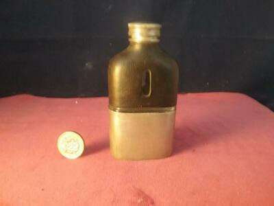 Antique James Dixon & Sons Leather & Silverplate  Or Pewter 1/8 Pint Hip Flask • 37.99£