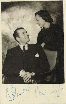 VIVIEN LEIGH & LAURENCE OLIVIER Jointly Signed 1940s Photo- GONE WITH THE WIND • 310.14£