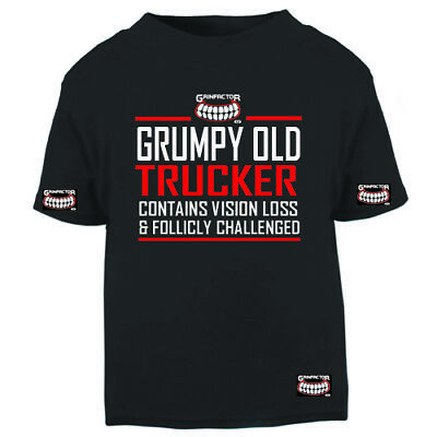 £18.99 • Buy Grinfactor Grumpy Old Trucker Contains Vision Loss & Follicly Challenged Tee