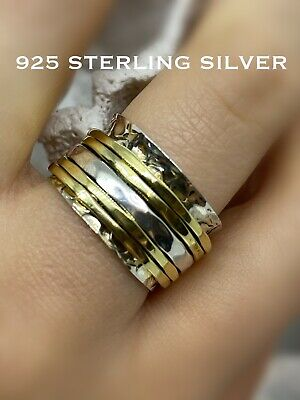 925 Sterling Silver Spinning Ring Boho Bijoux Worry Band Hammered Wide Size P /8 • 22.95£