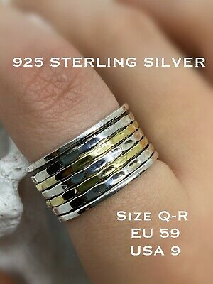 925 Sterling Silver Spinning Ring Thumb Ring Boho Bijoux 5 Band Wide Size Q - R • 22.95£