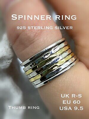 925 Sterling Silver Spinning Ring Thumb Ring Boho Bijoux 5 Band Wide Size R - S • 22.95£