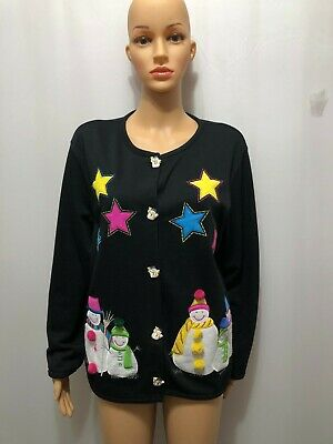 $6.99 • Buy Onque Casuals Ladies Size Large Black Christmas Cardigan With Snowmen & Stars