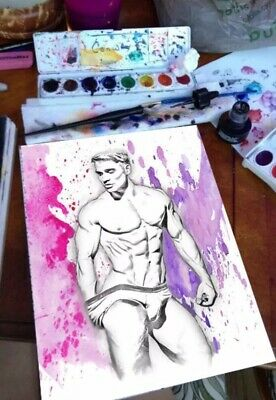 Hand Painted Original Male Erotic Art - Gay Interest. • 30£