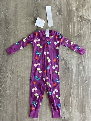 $19.99 • Buy New Girls Hanna Andersson Pajamas PJ 1-piece Butterfly Purple Zip 12-18 Months