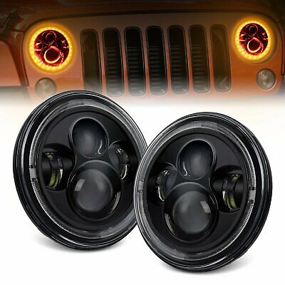 AU125.99 • Buy Pair 7  Inch 200W CREE Round LED Headlights Kit For Jeep Wrangler TJ JK 97-17