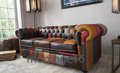 £1369 • Buy Bespoke Alvah Patchwork Leather Chesterfield Sofa (colours)