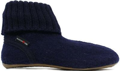 Haflinger Karlo Navy Wool Adults Boot Slippers • 53.99£
