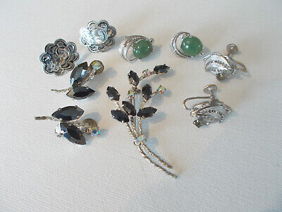 $ CDN35 • Buy Small Lot Of Vintage Jewelry, 1 Rhinestone Set, 3 Screw Earrings, Birks Sterling