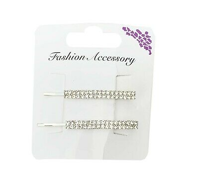 2 Pc HAIR GRIP DIAMANTE. HAIR CLIP. FREE POSTAGE ****** HAA3593-2 • 2.95£