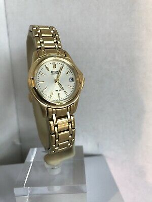 Citizen Ladies Eco Drive Gold Tone Stainless Steel Bracelet Watch EW0372-87P • 59.99£