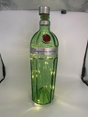Up Cycled Tanqueray No 10 Gin Bottle LED Light Wedding Centre Piece Bottle 1L • 10.99£