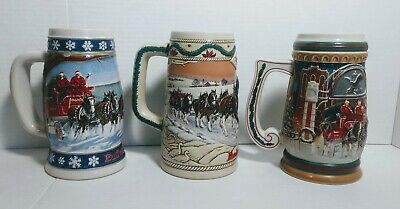 $ CDN32.94 • Buy Lot Of 3 Budweiser Holiday Clydesdale Christmas Beer Mugs Steins 1995 1996 1997